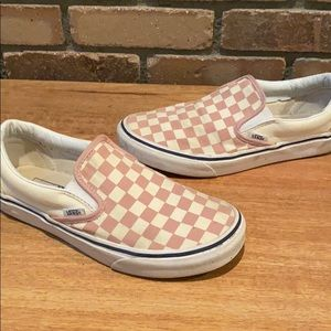 Vans Shoes - Rose Check Classic Vans Slip Ons